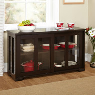 Espresso Sideboard Buffet Dining Kitchen Cabinet with 2 Glass Sliding Doors PSTMS510891
