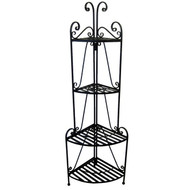 Black Metal 4-Shelf Corner Baker's Rack for Indoor or Outdoor Use PCBR8427