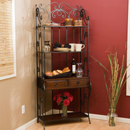 Black Wrought Iron and Walnut Wood Finish Bakers Rack BLCBR451815