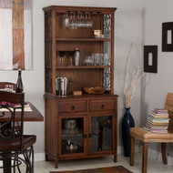 Dark Oak Wood Finish Bakers Rack Server with Wine Storage Hutch BLGB51981