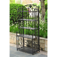 Indoor / Outdoor Wrought Iron Metal Bakers Rack 5-Shelf Plant Stand CTBR519841