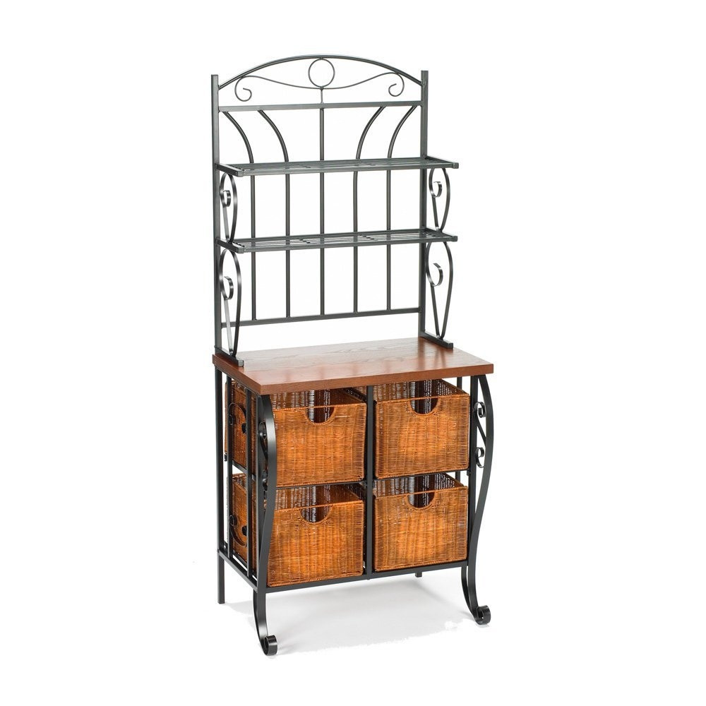 kitchen pantry bakers rack with 4 wicker drawers. Black Bedroom Furniture Sets. Home Design Ideas