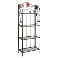 Indoor Outdoor Metal Bakers Rack Plant Stand with Floral Accents UME11607