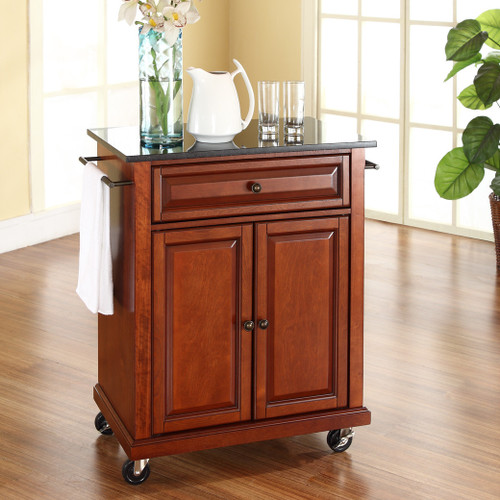 Portable Kitchen Island A Rolling Cart With Countertop: Cherry Portable Kitchen Island Cart W/ Granite Top