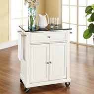 White Kitchen Cart with Granite Top and Locking Casters Wheels CKGTW2291