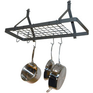 Ceiling Mount Rectangle Pot Rack in Hammered Steel ERPR980231