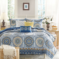 Queen size 6-Piece Coverlet Quilt Set in Blue Floral Pattern T6PCS651818