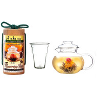 Flowering Tea Set with 40-oz Stove Top Clear Glass Pot Kettle and Infuser PFTSW2439