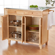 Stainless Steel Top, Kitchen Island/ Utility Table in Natural Wood Finish BLMC398185