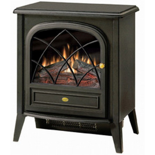 Black Compact Stove Style Electric Fireplace Space Heater 3d Flame