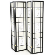 Black 4-Panel Room Divider Shoji Screen with Asian Floral Print WFPRD9531