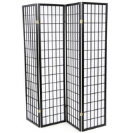 Black 4-Panel Asian Style Shoji Room Divider Screen WHJRD75591