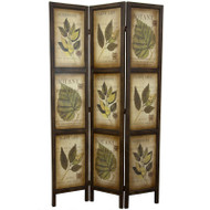 3-Panel Double Sided Floral Botany Plant Life Floral Leaves Room Divider ORF106253