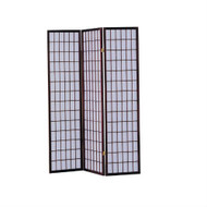 3-Panel Room Divider Asian Style Privacy Screen in Cherry Wood Finish ANWS49723