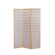 3-Panel Wooden Room Divider Japanese Shoji Screen in Natural ANS469043