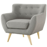 Gray Upholstered Mid-Century Style Armchair Accent Chair with Wood Legs GMAC51982
