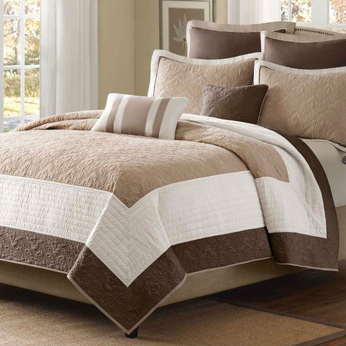 king size brown ivory tan cream 7 piece quilt coverlet