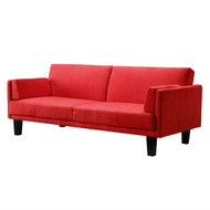 Contemporary Mid-Century Style Sofa Bed in Red Microfiber Upholstery DHPMS199