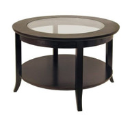 Circular Round Espresso Finish Coffee Table with Glass Inset TWGIOS1190