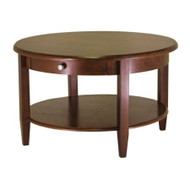 Circular Wood Coffee Table with Bottom Shelf and Drawer WCRCT12146