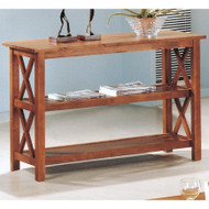 Brown Wood Sofa Table Living Room Console Table w/ 3 Shelves CSTB110891
