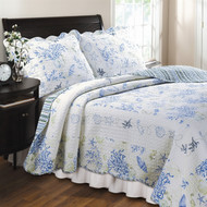 King size 100% Cotton Oversized Quilt Set in Ocean Blue Coral Seashells KGHQ87631