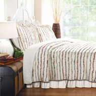 King size 100% Cotton 3-Piece Oversized Quilt Set with Ruffle Stripes KRQS91271