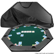 Octagon Padded Poker Top Table in Green Felt with 8 Cup Holders 52OG8995