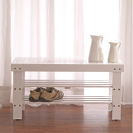 Solid Wood Shoe Rack Entryway Storage Bench in White WSB519846