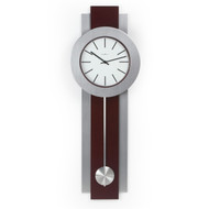 Modern Pendulum Style Wall Clock in Dark Merlot Cherry & Nickel BHMWC1391