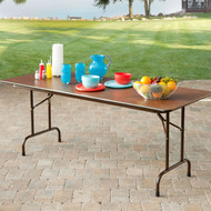 Rectangle 60-inch Melamine Folding Table in Brown CREMFB169