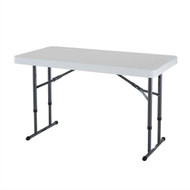 Adjustable Height 4-Foot Commercial Folding Table with White HDPE Top LFT5190513