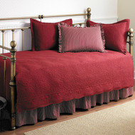 Twin size 5-Piece Daybed Cover Ensemble Quilt Set in Scarlet Red Cotton SCQSR5618156