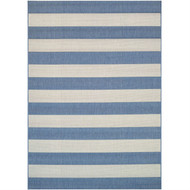 2' x 3'7 Ivory Blue Stripe Outdoor Indoor Rug CAYC1389123