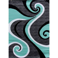 5'2 x 7'2 Modern Abstract Area Rug with Black Turquoise Swirl RBSM901