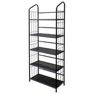 5-Tier Bookcase Storage Shelves Rack in Black Metal OI5TMB6822