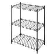 Small 3-Shelf Storage Rack Shelving Unit, Black Metal, Adjustable Leveling Feet WS3SU3491