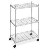 3-Shelf Chrome Steel Storage Cart on Wheels WSCC36971