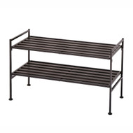 2-Tier Slatted Resin Stackable Folding Shoe Rack in Mocha Finish SRT20453
