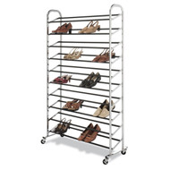 50 Pair Shoe Rack Tower in Chrome - Wheels Included WCS50PSR6018