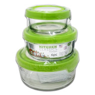 6 pc. Set, 2, 4, 7 Cup Glass Round Storage Containers, See-through Covers, Value Pk.