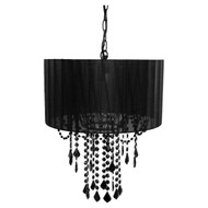 Black Drum Shaded One Bulb Chandelier TOBSC891