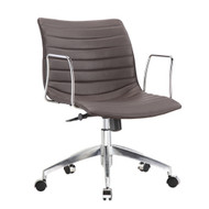 Dark Brown Mid-Back Comfortable Mid-century Modern Office Chair with 26.7-in Wide Seat CMDB51984