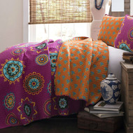 Full/Queen Fushia Pink Orange Blue Paisley  3 Piece Quilt Coverlet Bedspread Set FQF3PCSLD