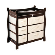 Espresso Wood Baby Diaper Changing Table with 6 Storage Baskets BCTSB1249