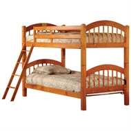 Twin over Twin Bunk Bed with Ladder n Honey Oak Wood Finish HOT5196841