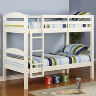 White Wood Twin over Twin Bunk Bed with Ladder and Guardrail WTUO681441