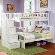 Twin over Full Bunk Bed with Stairway Storage Drawers in White Wood Finish AFCT651891