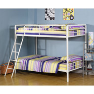Twin over Twin Bunk Bed with Ladder in White Metal Finish ATB51968151