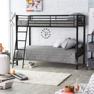 Twin over Twin Bunk Bed in Black Metal Finish with Ladder and Safety Rails DCT9815452